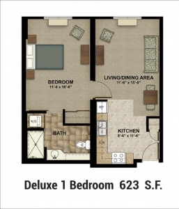 Floor Plan Deluxe 1 Bed