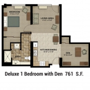 Floor Plan 1 Bed with Den
