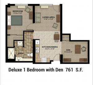 Floor Plan 1 Bed with Den